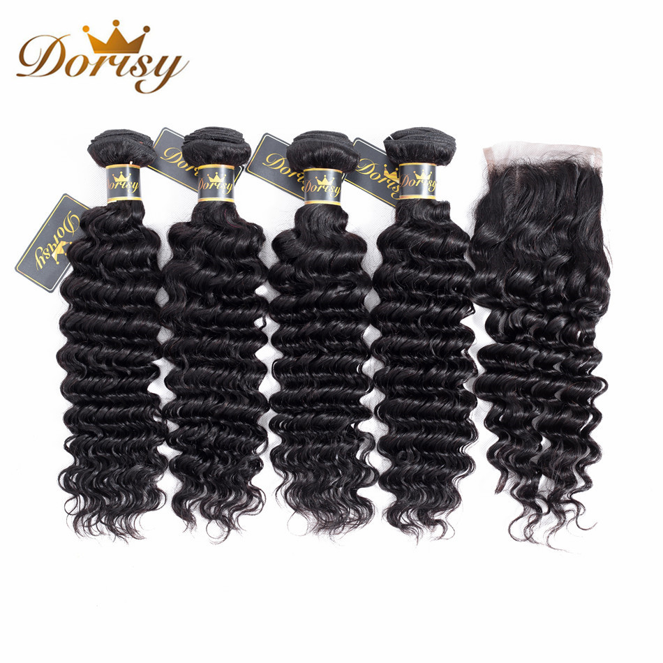 Dorisy Hair Brazilian 4 Bundles With Closure Deep Wave 100% Human Hair Weave Bundles With Lace Top Closure Non-Remy Hair