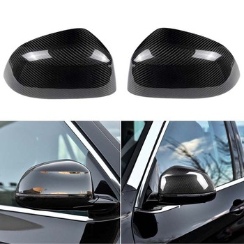 Replacement Real Carbon Fiber Side Rearview Mirror Cover Caps Fit For BMW X5 X6 2014-2019