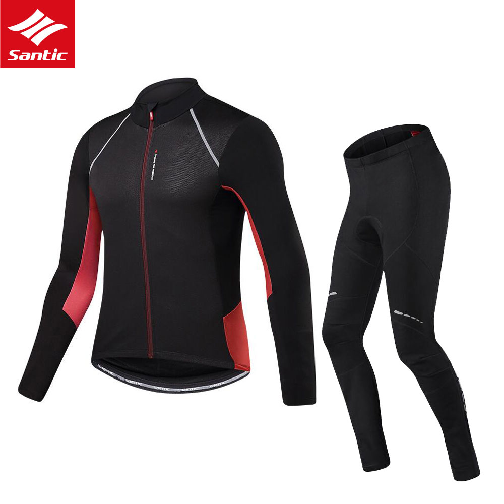 Mens Cycling Sets Winter Thermal Fleece Jersey Santic Long Sleeve Cycling Jersey Set Mtb Bike Bicycle Wear