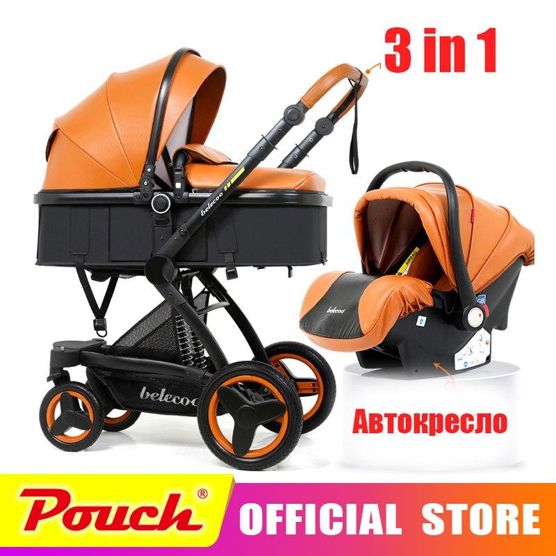Belecoo bébé poussette 3 dans 1 corticale bi-directionnel haute-vue amortisseur bébé strollers2 dans 1