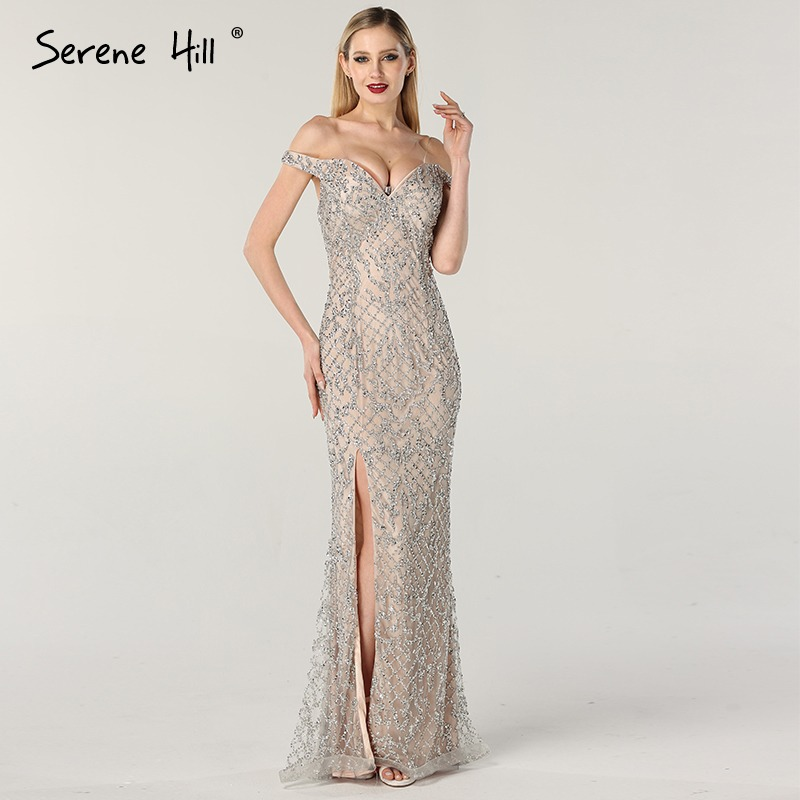 Dubai Gold Beading Pearls Luxury Evening Dresses 2019 Latest Design V-neck Sleeveless Sexy Evening Gowns Serene Hill La60896 Evening Dresses