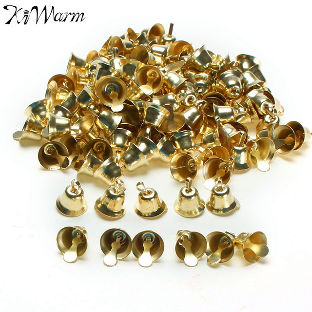 120Pcs/set 10mm Metal Golden Small Bell Trumpet Bells For Christmas Tree Decor Handmade Jewelry Pendants Wind Chime Accessories