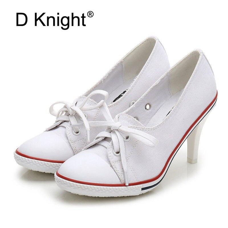 Women Canvas Shoes Denim High Heels Shallow Mouth Shoes Fashion Women Pumps Shoes 6CM 8CM High