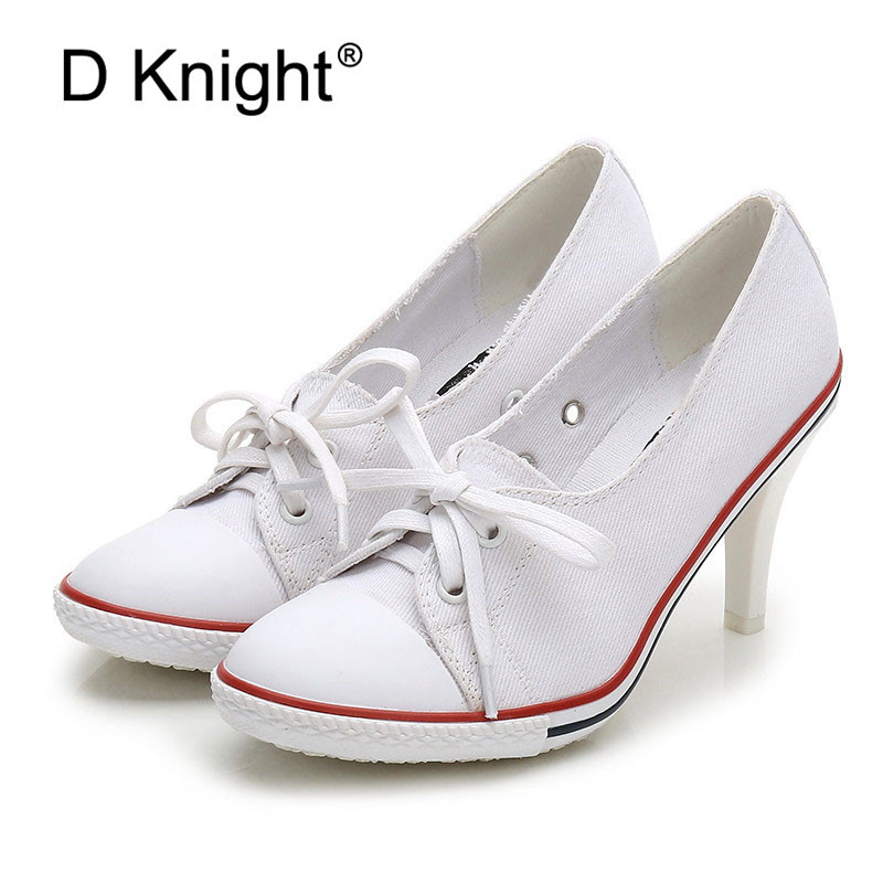 Women Canvas Shoes Denim High Heels Shallow Mouth Shoes Fashion Women Pumps Shoes 6CM/8CM High Heels Shoes Black White Red Blue 2015 summer shallow mouth of canvas shoes women shoes a pedal lazy shoes casual flat white shoes korean wave shoes