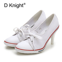 Women Canvas Shoes Denim High Heels Shallow Mouth Shoes Fashion Women Pumps Shoes 6CM/8CM High Heels Shoes Black White Red Blue