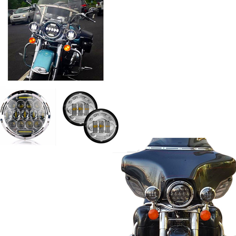 Chrome / Black Moto 7 DAYMAKER Headlight H4 Motorcycle 4.5 4 1/2 LED Passing Spot Fog Lights Bulb for Harley Motorcycle Bike 4 1 2 led spot fog passing motorcycle light dot ce body material aluminum die cast housing bike headlight body color black