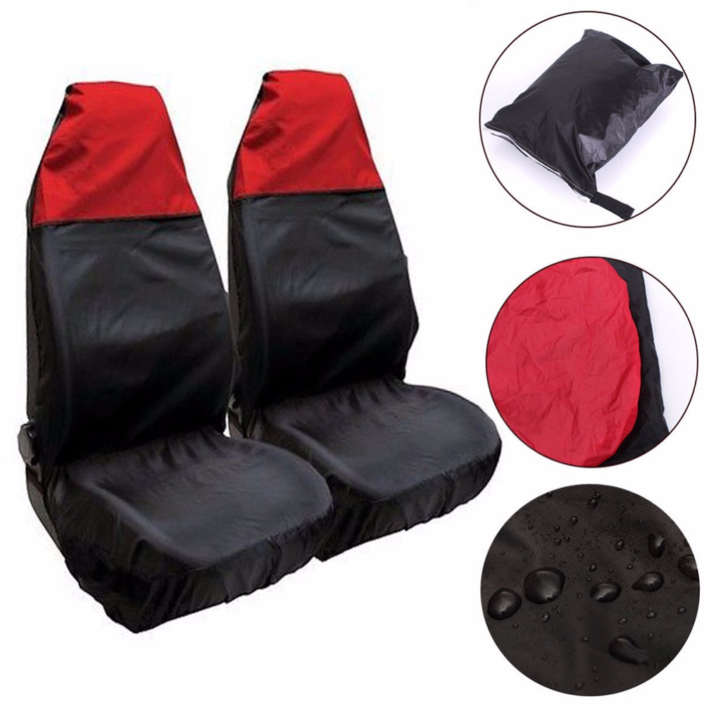 2Pcs Universal Car Seat Cover Oilproof Auto Vehicle Front Chair Protector w/ Storage Bag Organizer Automobile Microbus Accessory