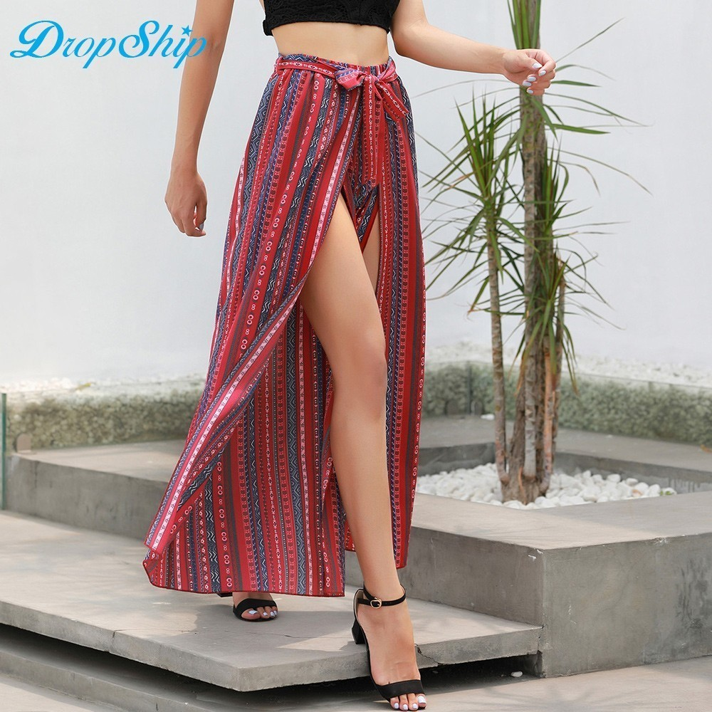 Streetwear   Wide     Leg     Pants   Bell Bottom Loose Trousers Women 2018 Boho High Waist Self Belted Box Pleated Summer Palazzo   Pant