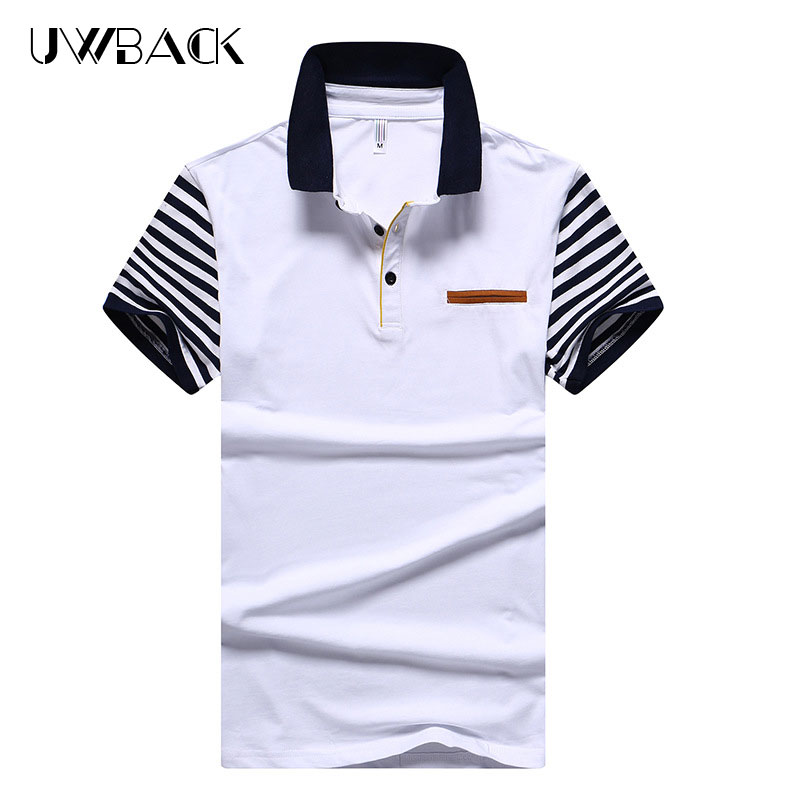 Uwback 2018 New Brand Striped Polo Shirts Men 95% Cotton Stand Collar Fashion Polo Shirt Patchwork Casual Summer Polos 3XL XA536