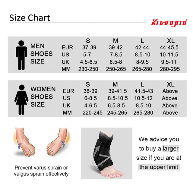 Kuangmi Ankle Brace Support Sports Adjustable Ankle Straps Foot Stabilizer Orthosis Football Compression Ankle Socks Protector