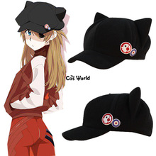 Hat Baseball-Cap Cosplay-Accessories Asuka Anime Shikinami EVA Cat-Ear Polar-Fleece Rangure