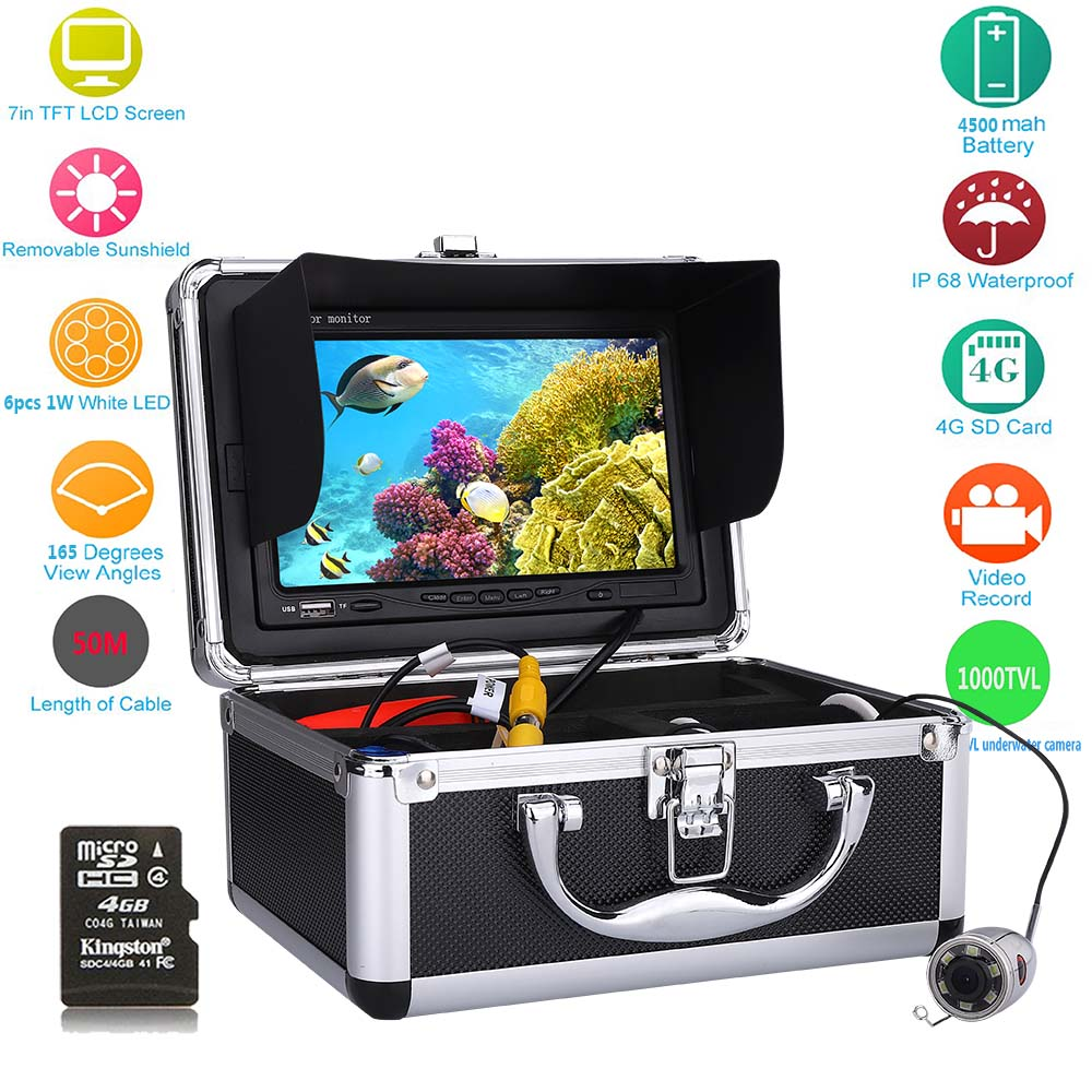 MAOTEWANG 7 Video Fish Finder HD 1000TVL DVR Stainless Steel Underwater Fishing Camera Kit With Video Recording 165 Angle 30m 30m video