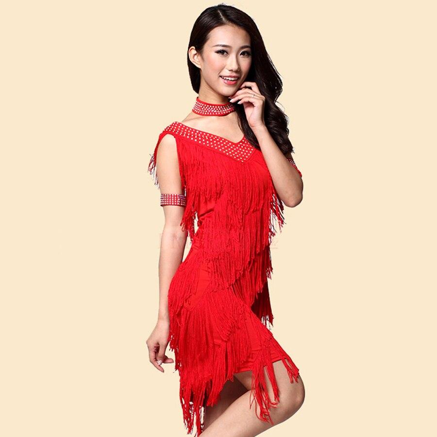 57c98ee9a Borla con flecos lentejuelas Backless América Argentina Tango Ballroom  Dance Salsa bola bailarín vestido del traje negro rojo descuento en Latina  de La ...