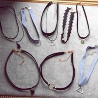 90 s women black velvet choker necklace gothic handmade retro burlesque jewelry.jpg 200x200