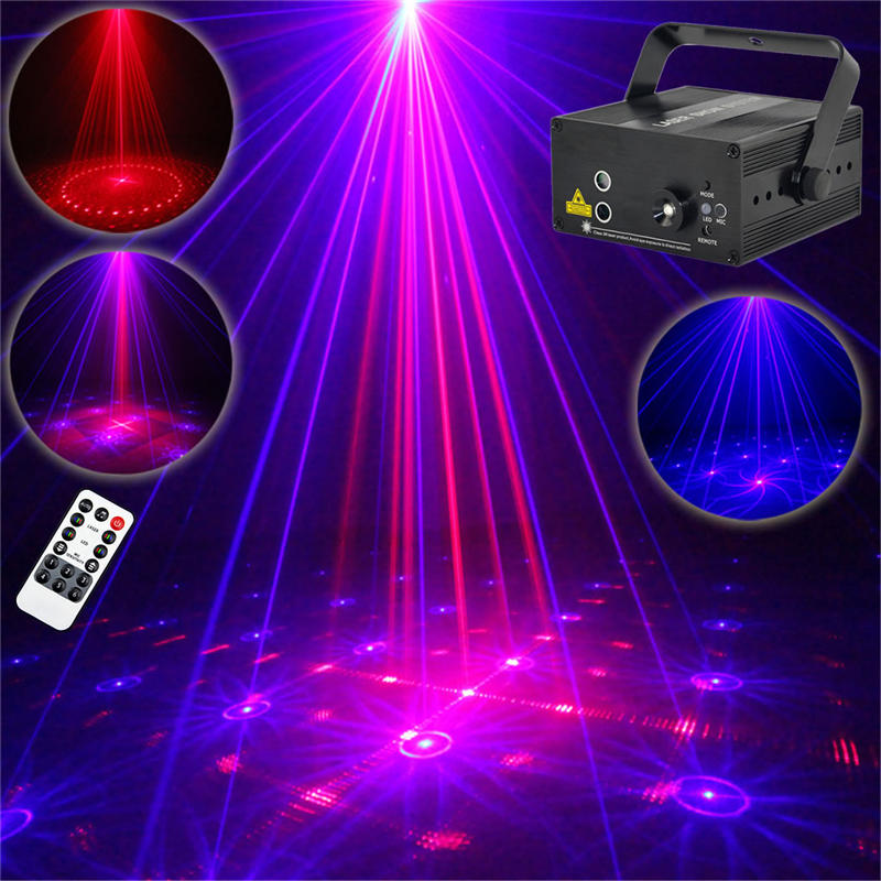AUCD Mini 16 Patterns RB Red & Blue Laser Effect Projector 3W Blue LED Mixing Effect DJ KTV Party Home Stage Lighting Z16RB aucd mini remote 24 patterns rg red green laser effect projector 3w blue led light dj home party wedding stage lighting z24rg