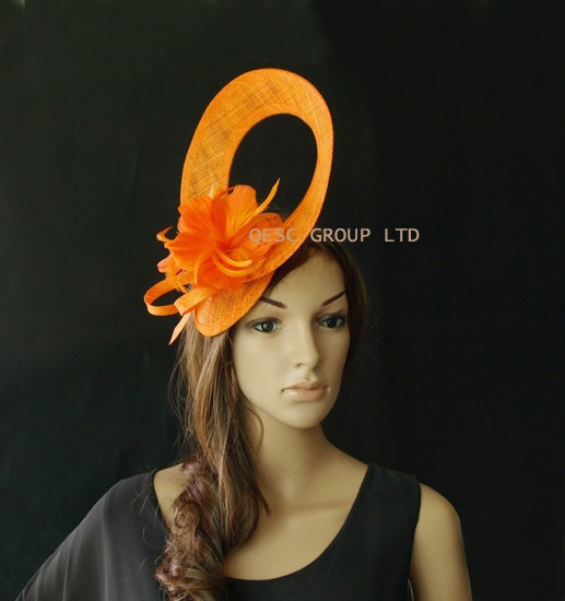 Whole Exclusive Designs Sinamay Fascinator Hat W Feather For Melbourne Cup Kentucky Derby Wedding Party Purple Orange In Hair Accessories From Women S