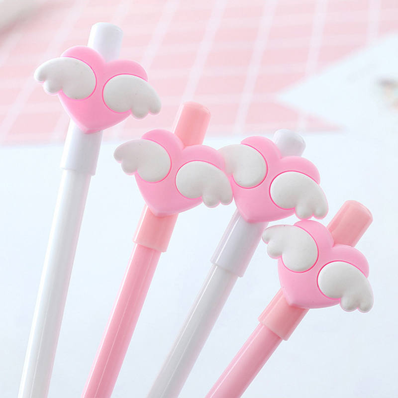 1 PCS Lovely White Wing Gel Pens Girl Kawaii Pink Heart 0.5mm Black Ink Pen School Office Supplies Stationery Signature Tool