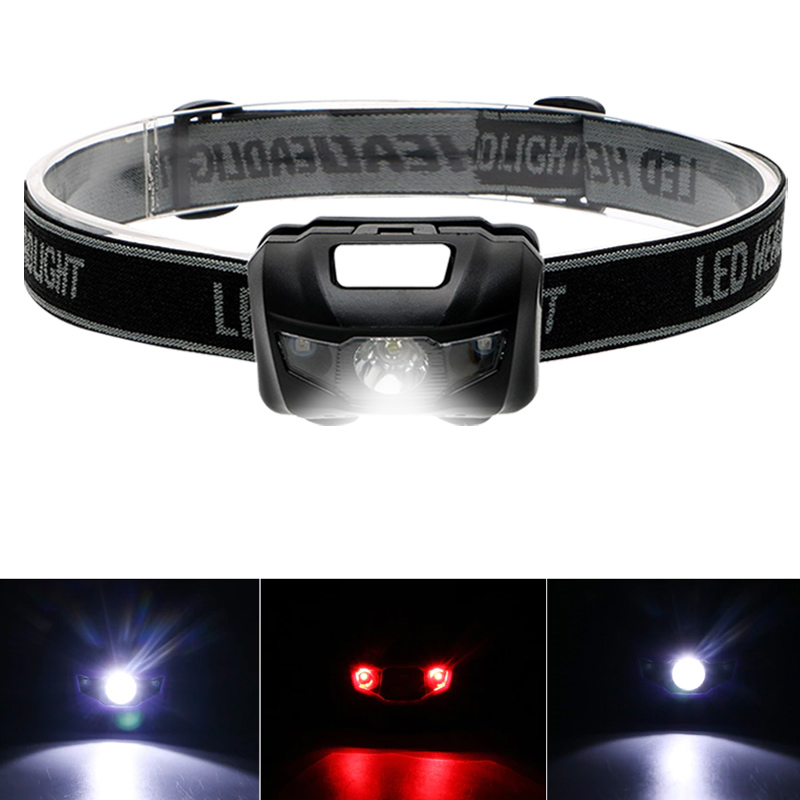 Headlamp Headlight Red Light 4modes 3W Strong Light Sporting Goods USB Rechargeable Flashlight Fishing Sensing Lamp
