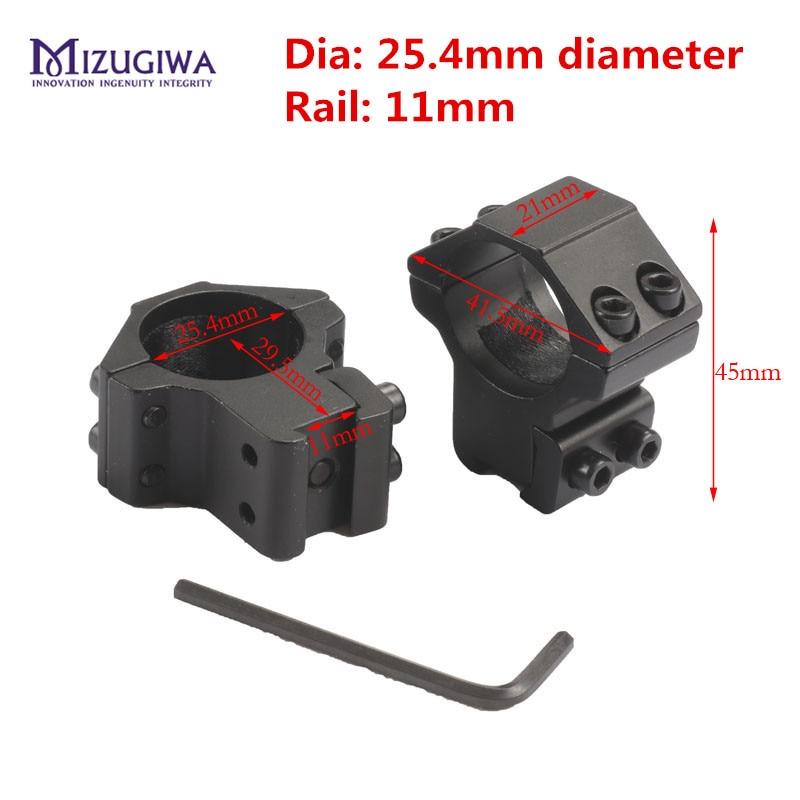 MIZUGIWA 1 Pair 25mm/30mm High Rifle Scope Mounts Double Screw Strap 11mm/20mm Base Air Rifle Hunting Caza Base Install