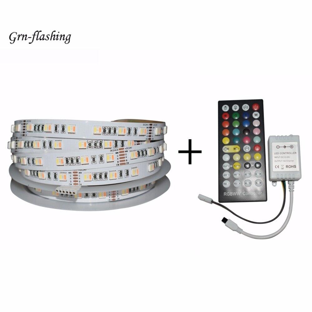 5 m 12 V 24 V RGBW RGBWW smart LED bande lumières 60 LED/m 6 broches connecteur 5 en 1 lampe perles spectre complet pour la maison TV support décor