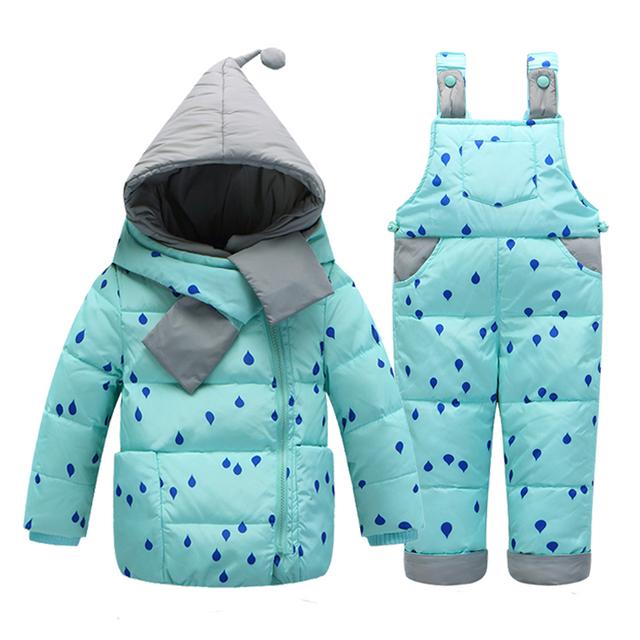 2017 Novo conjunto de roupas crianças engrossar para baixo casaco de penas 1-quatro anos de miúdo crianças macacão de inverno para baixo outerwear parkas Adequado