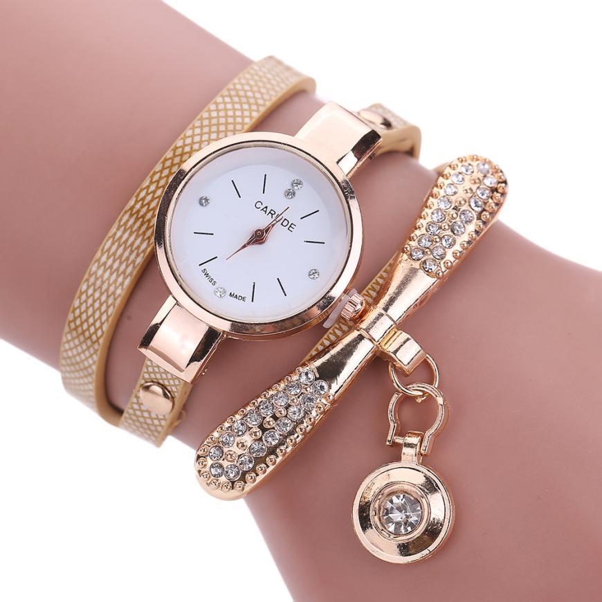 Для женщин Часы модные Повседневное часы-браслет Для женщин Relogio кожа горный хрусталь аналоговые кварцевые часы женские Montre Femme