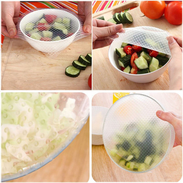 US $395 0 |150 set Wholesale 4pcs/set Silicone Wraps Seal Cover Stretch  Cling Film Food Fresh Keep Kitchen Tools ZA0546-in Saran Wrap & Plastic  Bags