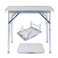 OUTAD Folding Portable Picnic Table Aluminum Height Adjustable Indoor Outdoor Party Dining Camping Table With Handle