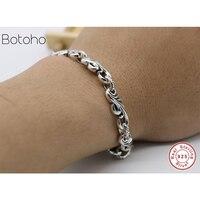 2018 Best selling 925 sterling silver seal men's jewelry 8 mm wide men's bracelet 925 silver men's jewelry charm man bracelet