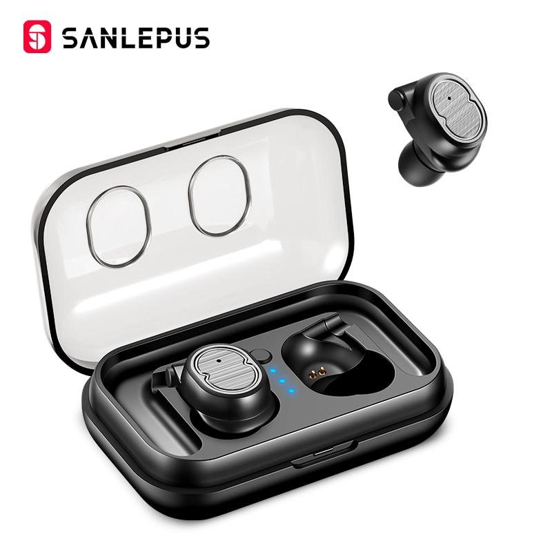 SANLEPUS Mini Cuffie Senza Fili Bluetooth Auricolari Auricolari Sportivi TWS 5.0 Stereo Bass Auricolare Con Doppio Microfono Per Telefoni