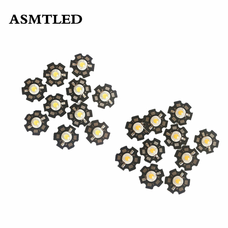 10pcs/lot LED Chip Light With PCB Star 1W 3W High Power White Warm White LED Emitter Chip +20mm Aluminum Star Base PCB LED Beads