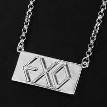 EXO Band Simple Design Silver Square Statement Pendant Necklace For Women Men Collares Letter Caved Jewelry