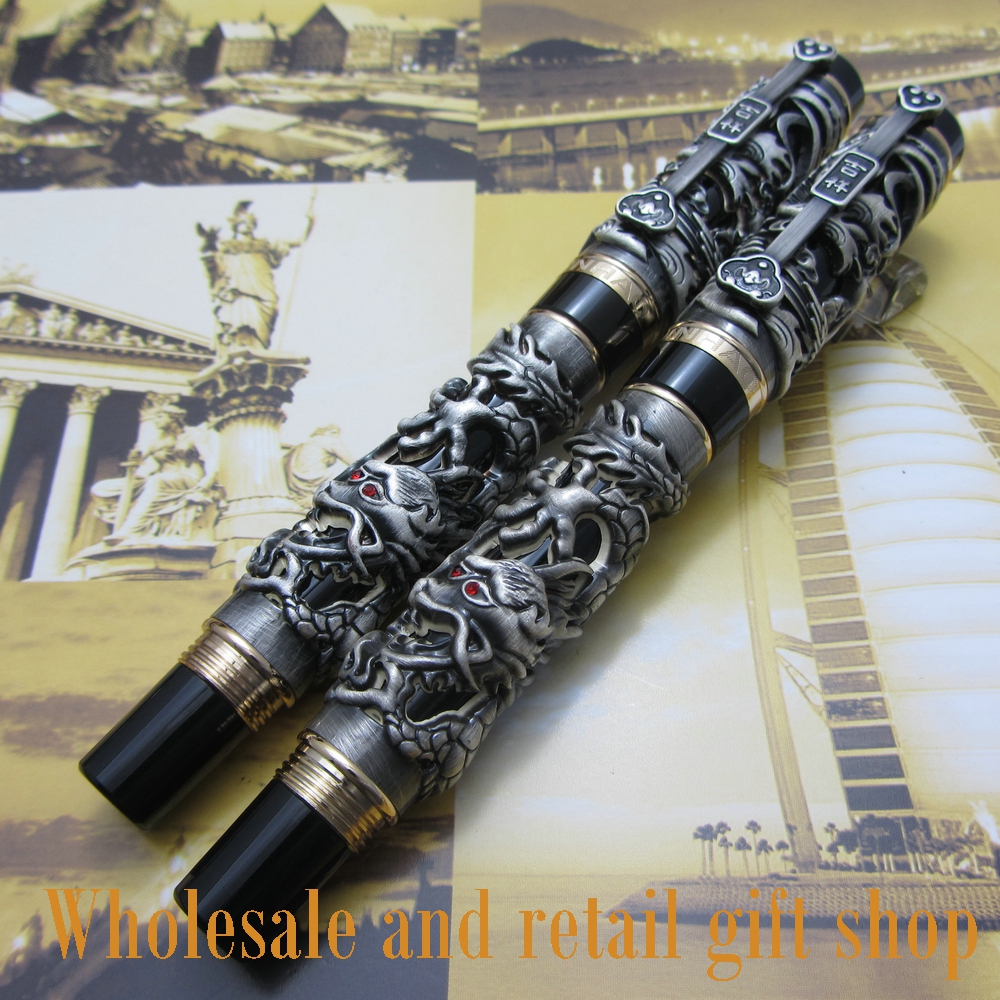 2pcs pen Jinhao Dragon Phoenix Heavy gray Chinese Classical Luck Clip цена