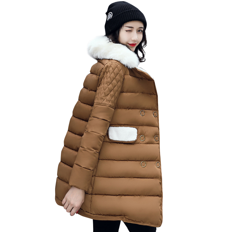 2017 fur turn down collar women winter coat female parka ladies thick warm double breasted long jacket slim jaqueta feminina europe 2015 new women winter coat slim turn down collar long double breasted leather match cotton jacket coat w20