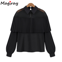 Women Clothes Mesh Blouse Long Sleeve Tops Shirt Femininas 2017 Fashion Tassel Shirts Women Chiffon Blusas