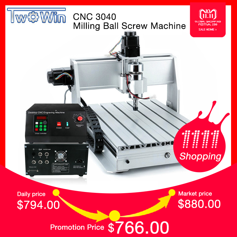 1.5KW Three-axis Ball screw CNC Router Four-axis Engraver Engraving Milling Drilling Cutting Machine CNC 3040 high precision diy cnc cutting machine 3040 with ball screw for woodwork pcb engraving router