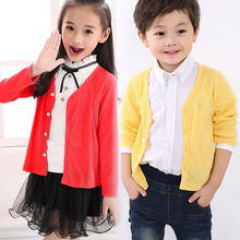 Baby Girls Clothing Jacket Autumn Thin Knitted Coat V-Neck Cardigan Cotton T Shirt Kids Clothing For Boys Jacket(China)