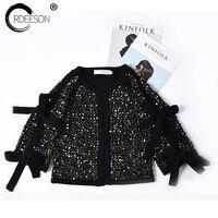 Ordeeson куртка Euopean Для женщин Повседневное черный уличная одежда кардиган вязаный кардиган Для женщин S Роскошные Для женщин Свитеры для женщ
