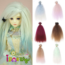 купить 1/pcs 15/20*100cm doll hair kinky curly wigs for blyth doll 1/3 1/4 1/6 1/8 BJD handmade dolls hair diy doll wigs онлайн