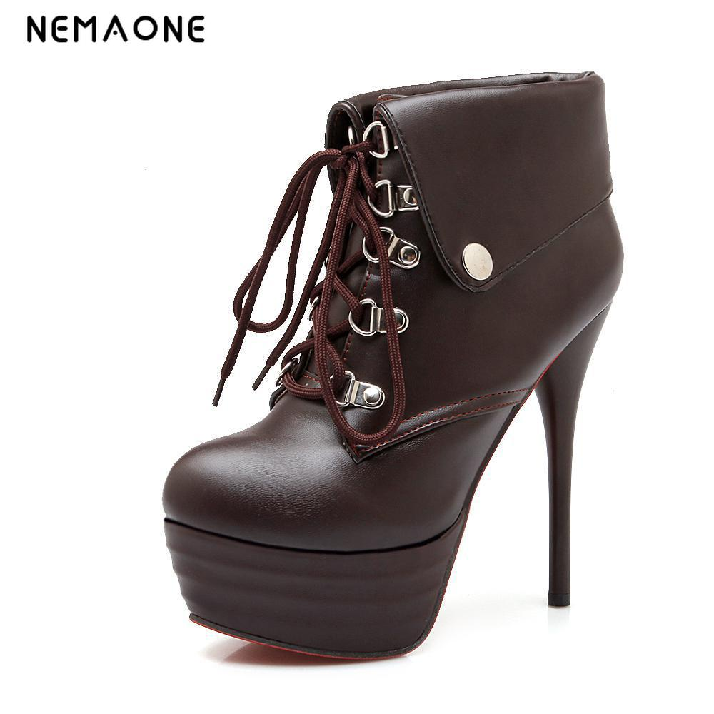 NEMAONE new women boots sexy high heels platform ankle boots for women botas femininas thin heel lace up night high heel boots brand new women platform thin high heel ankle boots woman sexy leopard botas fashion lace up heels shoes footwear size 34 47