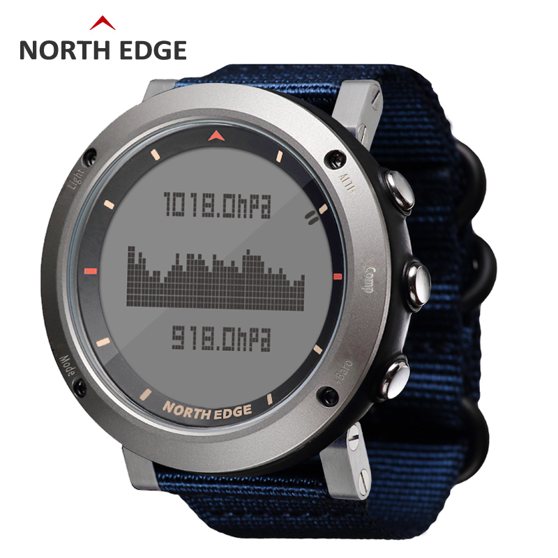 все цены на NORTH EDGE Men Sport Watch Thermometer Altimeter Barometer Compass Pedometer Calorie Nylon Band Watches Digital Running Climbing онлайн