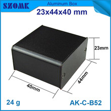 1 piece free shipping black aluminum housing enclosure for pcb broad with smooth surface 23x44x40mm