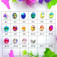 AB colors-pegamento ovalado de vidrio de forma ovalada para cuentas de diamantes de imitación, adornos, accesorios, 4x6, 6x8, 8x10, 10x14, 13x18, 18x25, 20x30mm