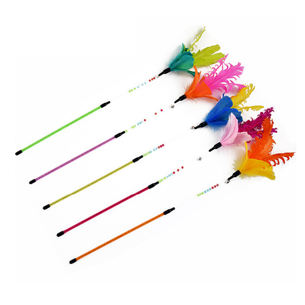 1pcs Pet Cat Toy Cute Design colorful feather Wand Acrylic Toy for kitten cats Products  ...