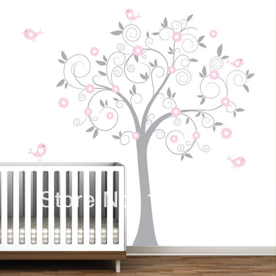 free shipping pink flower tree with birds big size 137 x180 cm 71 x54 wall stickers for kids. Black Bedroom Furniture Sets. Home Design Ideas