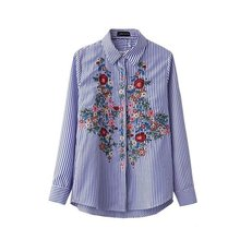 Europe and the America fashion sweet floral embroidery cotton long sleeve blouse casual blue striped shirt women tops blusas