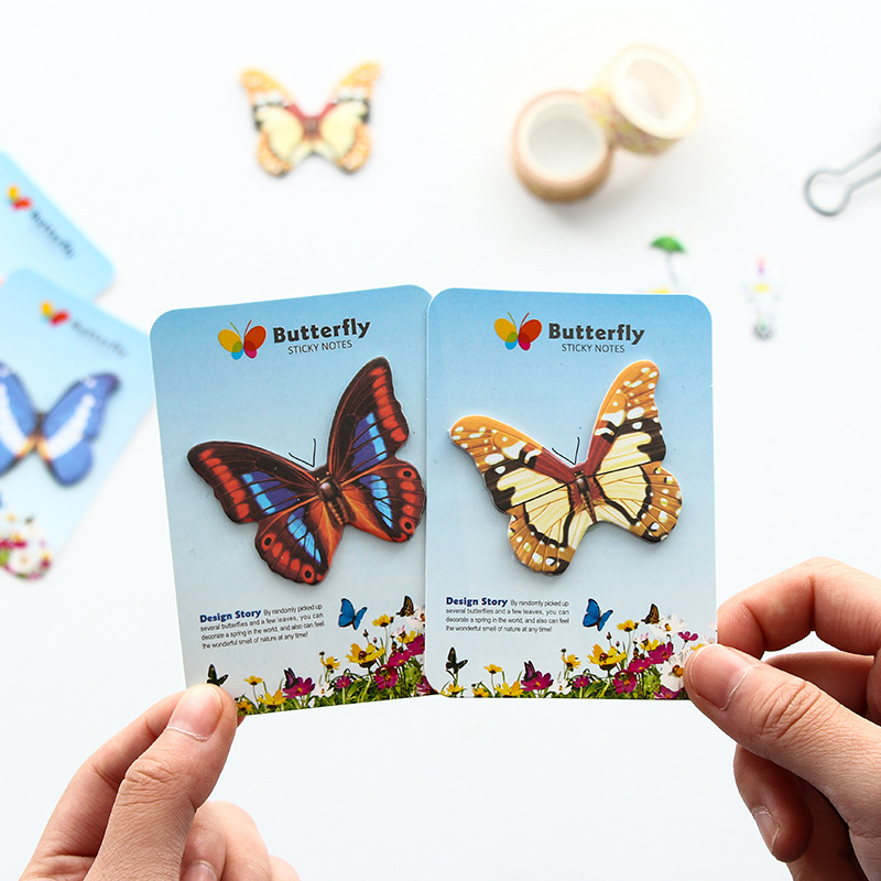10PCS/LOT Kawaii Butterfly Post it Memo Pad Cute Self-Adhesive Sticky Note Sticker Office School Supply Stationery BLT62