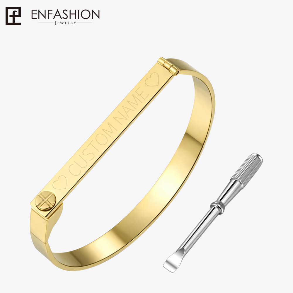 Enfashion Personalized Engraved Name Bracelet Gold Color Bar Screw Bangle Love Bracelets For Women Men Cuff Bracelets Bangles