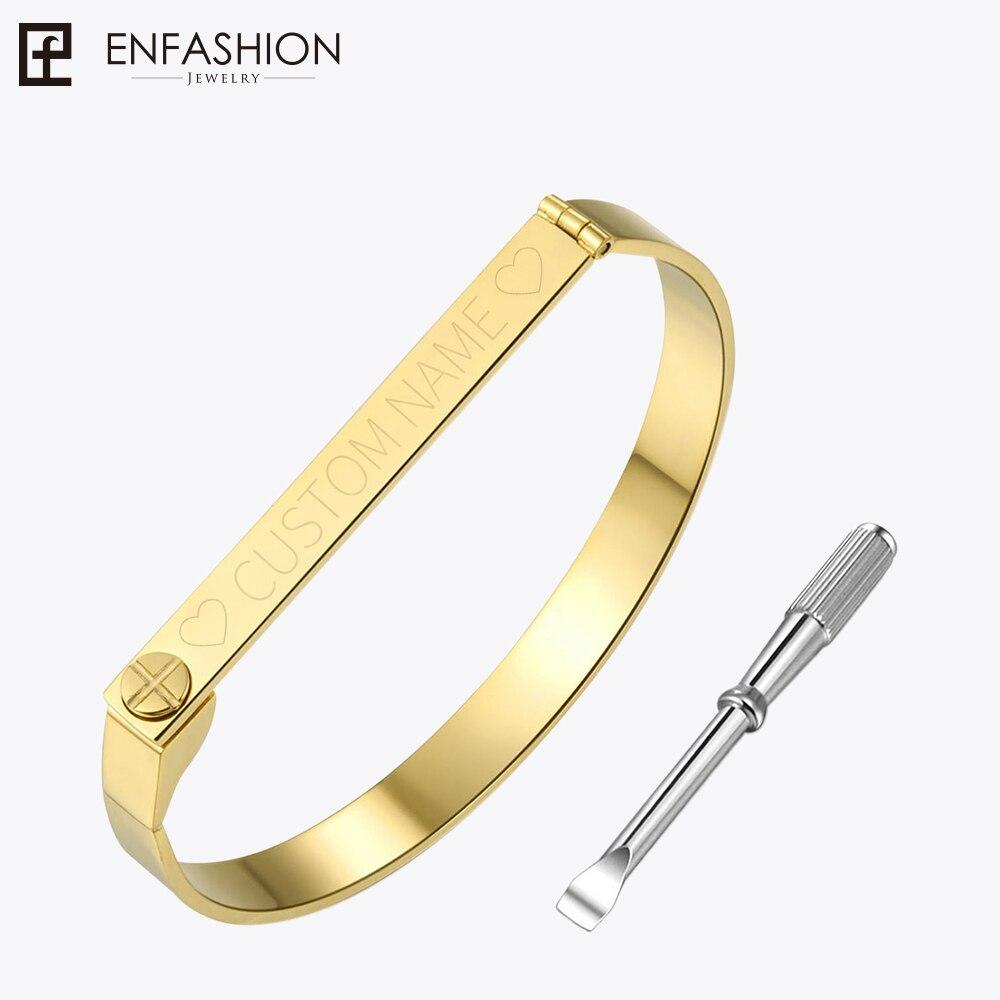 Enfashion personalizado grabado nombre pulsera oro Color Bar tornillo brazalete amantes pulseras para las mujeres hombres pulseras brazaletes