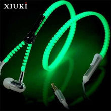 New Colorful Luminescent Metal Zipper Headset With Microphone In-Ear Headset 3.5mm For Mobile Phone MP3 MP4 Music Players